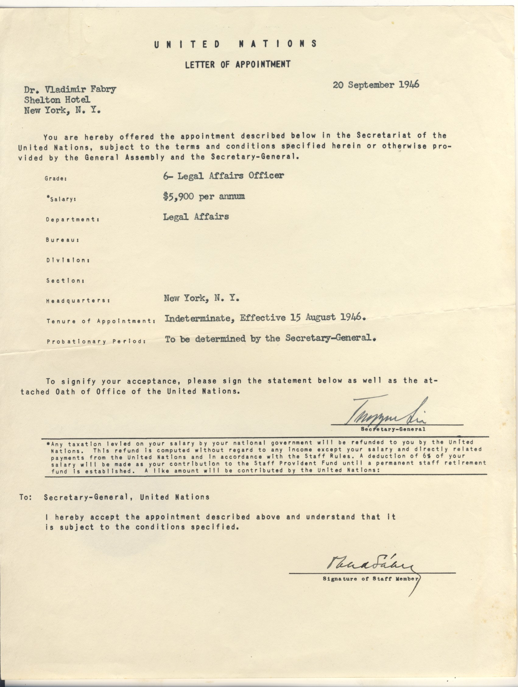 Vlado UN Letter Of Appointment  Letter Of Appointment