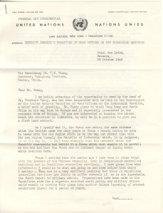 H.J. Timperely letter to Dr. T.V. Soong