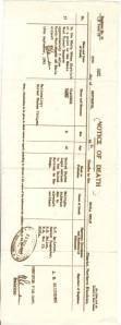 Vlado Notice of Death Northern Rhodesia
