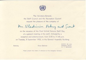 Invitation for First UN Staff Day 8 September 1953