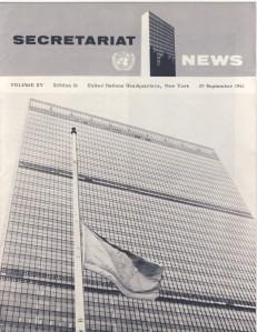 Secretariat News September 1961 cover