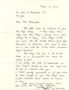 Sumitro letter to John D. Rockefeller