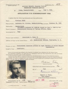 American Foreign Service visa application 1946
