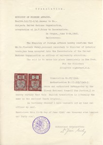 Ministry of Foreign Affairs UN confirmation 1946