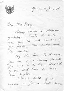 Sumitro letter Mrs Fabry