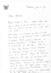Sumitro letter Olinka