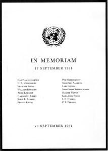 UN Memorial program, 28 September 1961