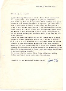 Frano Tiso letter 2-28-59