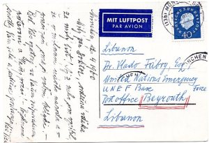 Frano Tiso postcard to Vlado 4-12-60 reverse